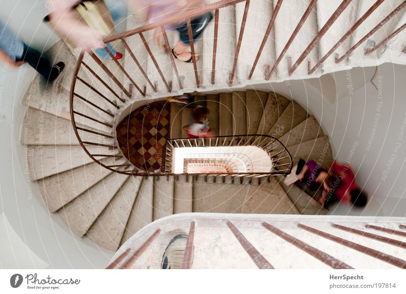 The only way is up Mensch weiß Haus oben Architektur Gebäude Menschengruppe maskulin Treppe rennen Vogelperspektive Bauwerk Treppengeländer Treppenhaus