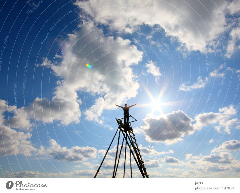 gib mir mehr Himmel.... Mensch Himmel Sonne Wolken Freiheit Glück Luft Zufriedenheit Horizont Kraft frei Fröhlichkeit Hoffnung Unendlichkeit Gelassenheit Schönes Wetter