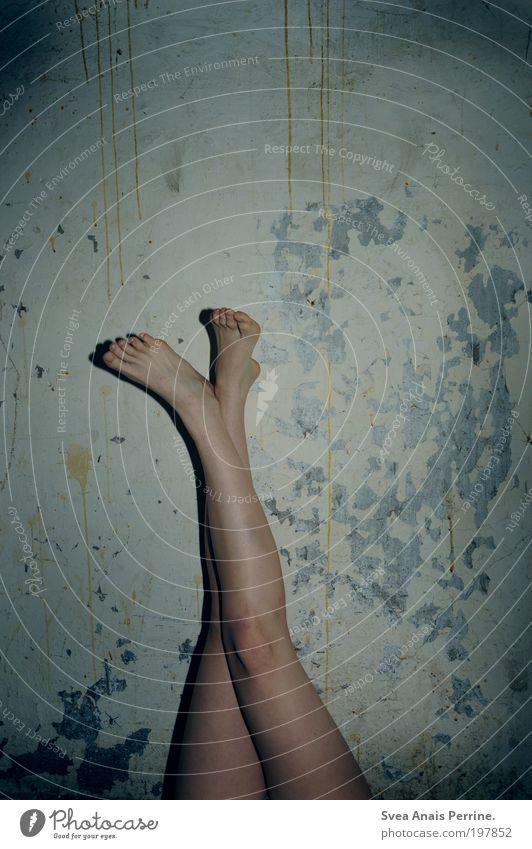 La Valse D'Mara Mensch Jugendliche blau Freude dunkel Leben feminin Wand Gefühle Mauer Stil Beine Stimmung Fuß dreckig Fassade
