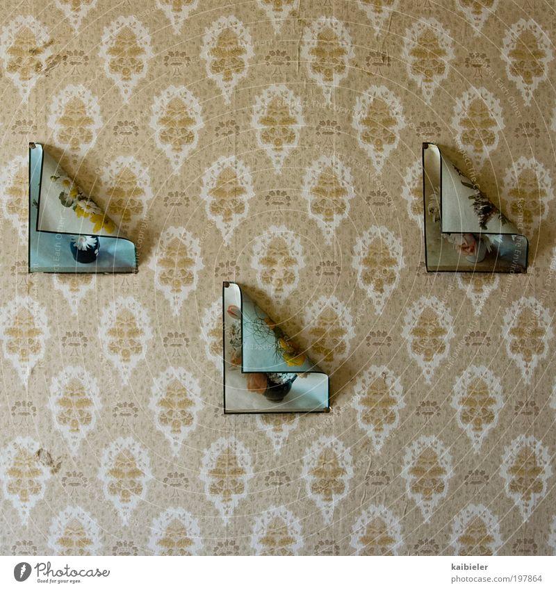 Origami Häusliches Leben Wohnung einrichten Innenarchitektur Dekoration & Verzierung Tapete Mauer Wand alt retro braun gelb ästhetisch Kunst Symmetrie Verfall