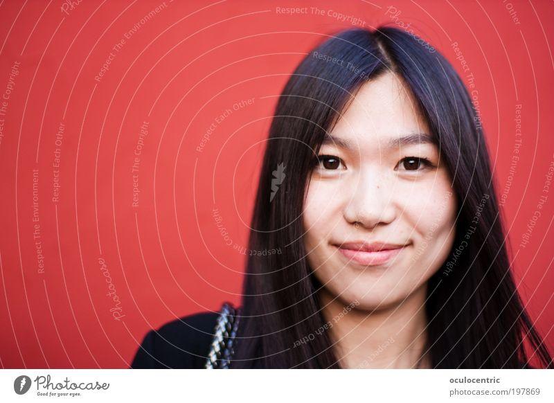 Shanghai Lady Mensch Jugendliche schön rot Freude Gesicht schwarz feminin Wand Stil Haare & Frisuren Kopf Mauer Asiate glänzend