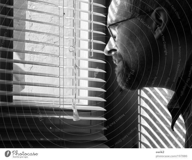 Einschaltquote Mensch maskulin Mann Erwachsene Kopf Kragen 1 45-60 Jahre Mauer Wand Fenster Jalousie Rollo Lamellenjalousie Kunststoff beobachten Denken Blick