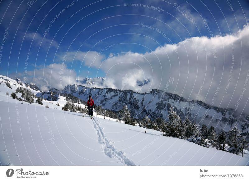 Skitour sportlich Ferien & Urlaub & Reisen Tourismus Ausflug Abenteuer Ferne Freiheit Winter Schnee Winterurlaub Berge u. Gebirge wandern Sport Wintersport
