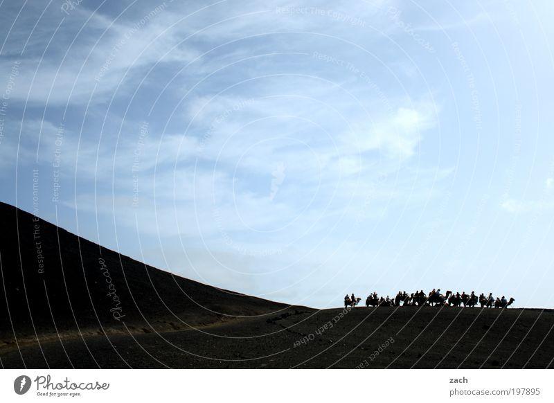 Kamelkarawane Abenteuer Safari Berge u. Gebirge Mensch Sand Himmel Vulkan Nationalpark Timanfaya Insel Lanzarote Wege & Pfade Tier Dromedar Tiergruppe blau