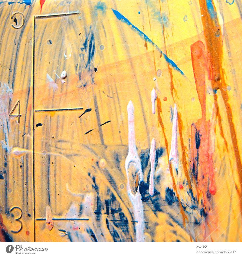 Farbenlehre rot gelb Farbstoff Kunst Ziffern & Zahlen Spuren Streifen Skala Schriftzeichen Detailaufnahme mehrfarbig Schliere