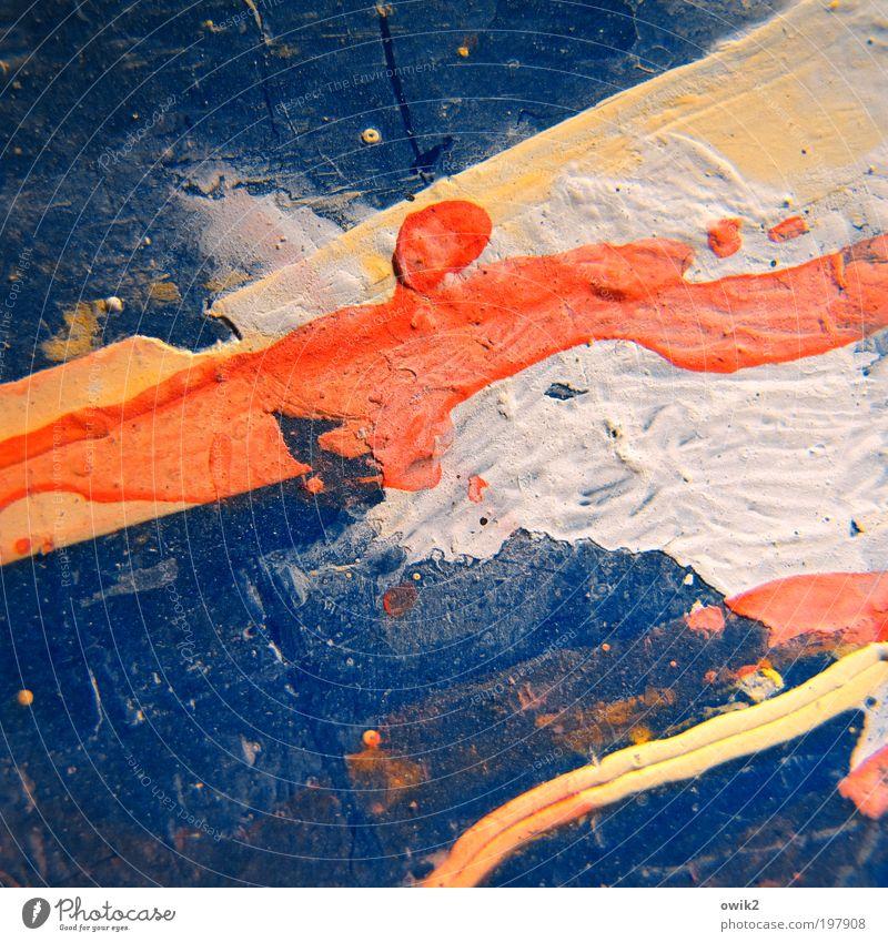 Umlaufbahn weiß blau gelb orange Kunst Spuren Streifen abstrakt Detailaufnahme Schliere