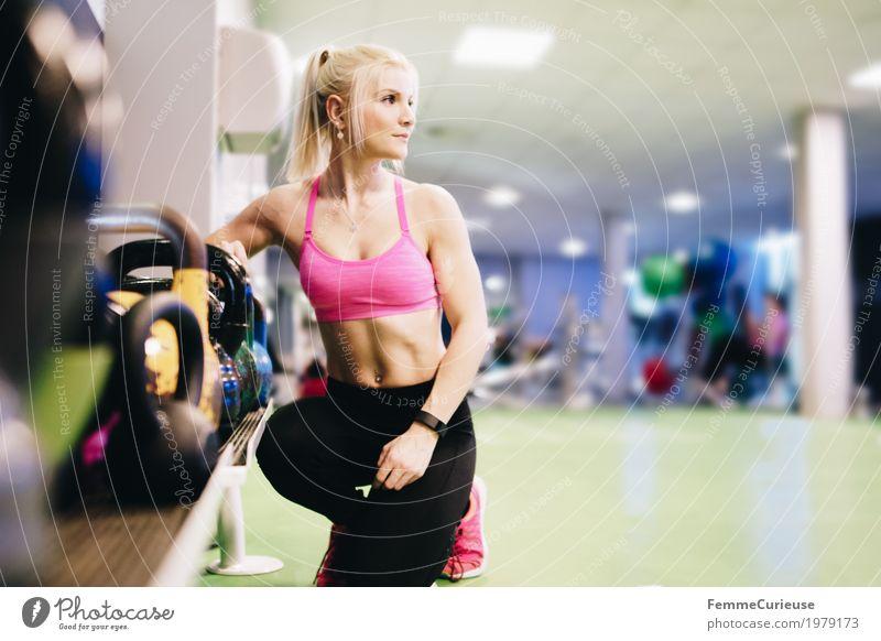 Fitness_06_1979173 Lifestyle feminin Junge Frau Jugendliche Erwachsene Mensch 18-30 Jahre Bewegung stark muskulös üben Sport-Training Fitness-Center Gesundheit