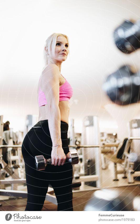 Fitness_03_1979183 Lifestyle feminin Junge Frau Jugendliche Erwachsene Mensch 18-30 Jahre Bewegung Fitness-Center Gesundheit Lebensfreude sportlich muskulös