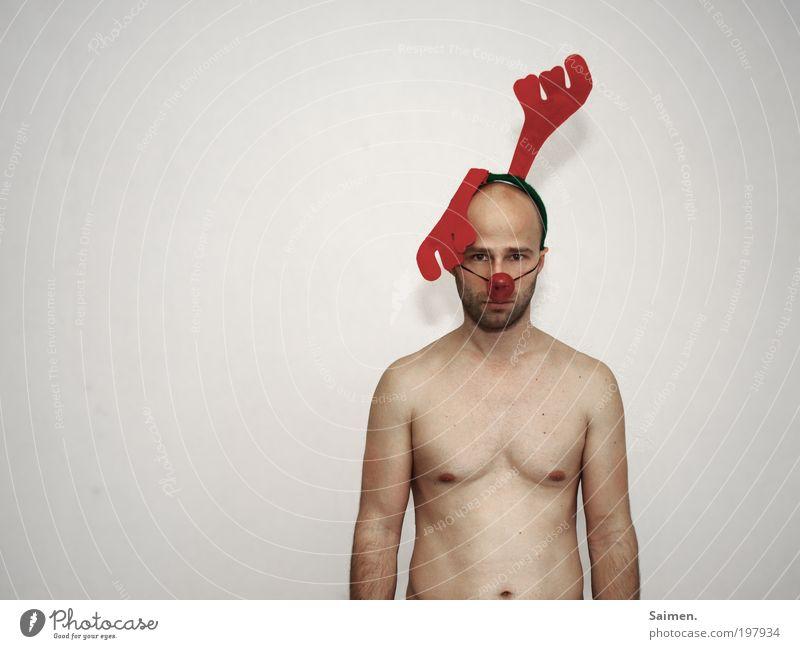 produzier misch net Mensch Mann Erwachsene nackt Körper maskulin verrückt bedrohlich beobachten Wut trashig Horn kämpfen Respekt Aggression Frustration