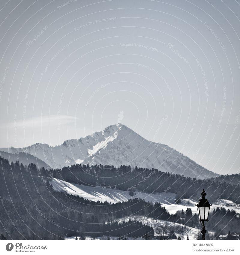 Laterne Himmel Natur Ferien & Urlaub & Reisen blau weiß Baum Landschaft Erholung Ferne Winter Wald Berge u. Gebirge kalt Schnee Freizeit & Hobby frei