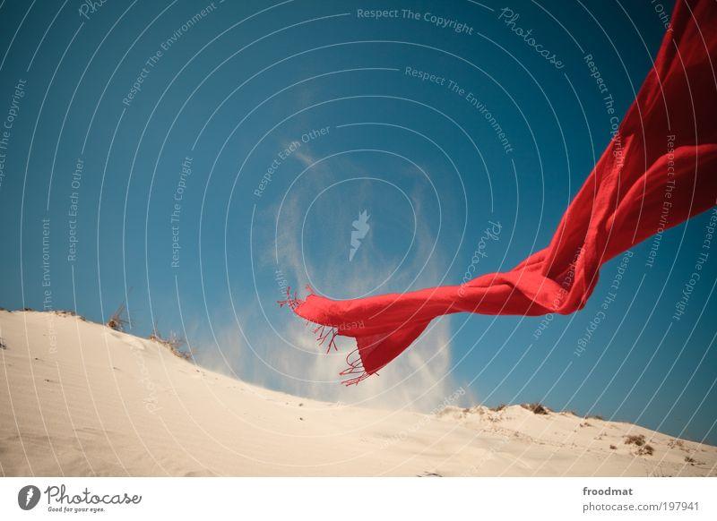 rotes tuch Umwelt Natur Landschaft Urelemente Erde Sand Luft Himmel Wolkenloser Himmel Schönes Wetter Wind Küste Strand Wüste bedrohlich Erholung Tuch leicht