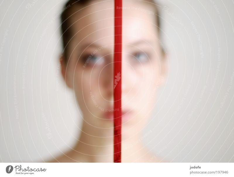 traurig mal zwei feminin Junge Frau Jugendliche Gesicht 1 Mensch 18-30 Jahre Erwachsene rot Traurigkeit Linie Geschenkband geteilt Trennlinie zweiseitig 2