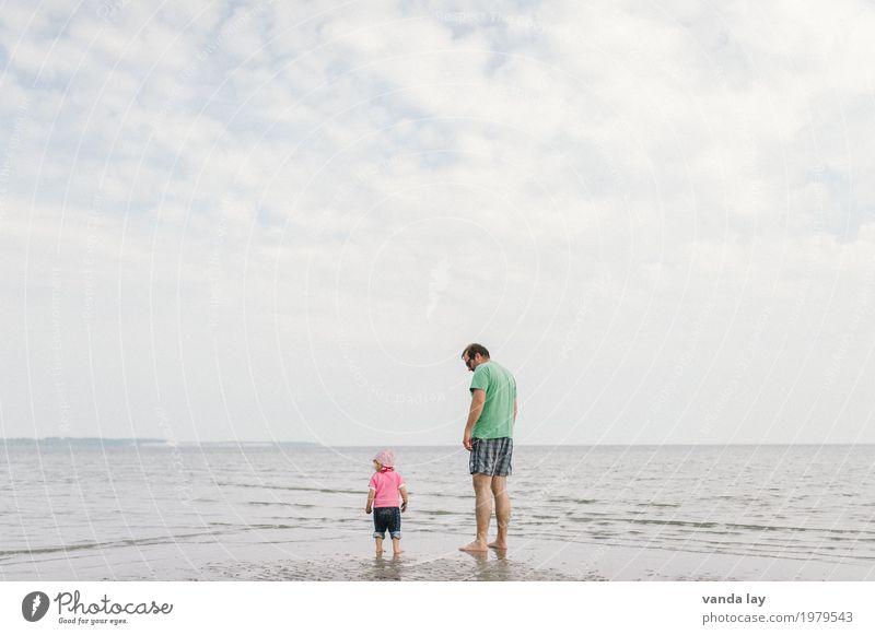 Groß und klein Mensch Kind Ferien & Urlaub & Reisen Jugendliche Mann Sommer Sonne Junger Mann Meer Freude Mädchen Strand Erwachsene Familie & Verwandtschaft