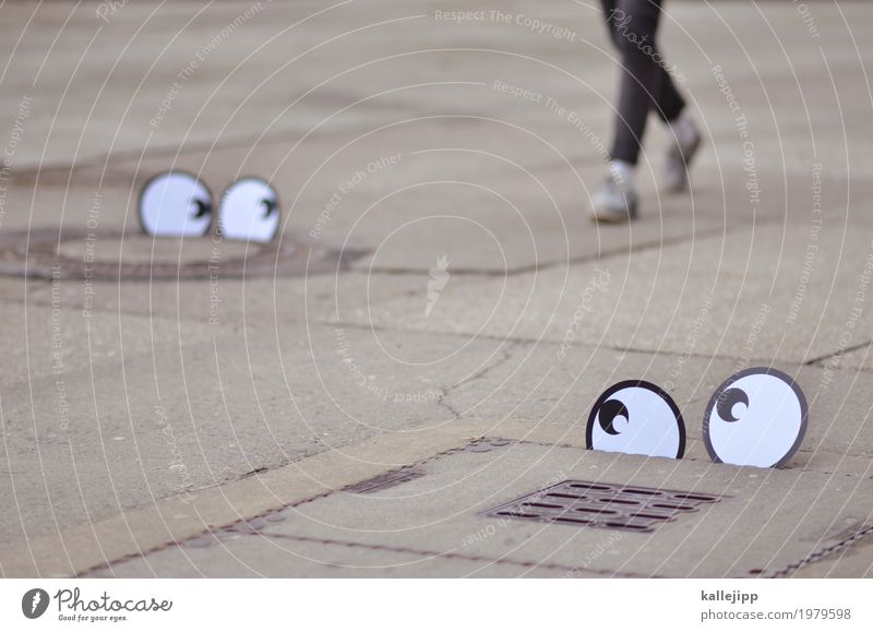 tracking Mensch Auge Beine Fuß 1 Hose Jeanshose Schuhe Turnschuh gehen augenpaar Comic Spaziergang Blick beobachten Überwachung kundenanalyse Studie