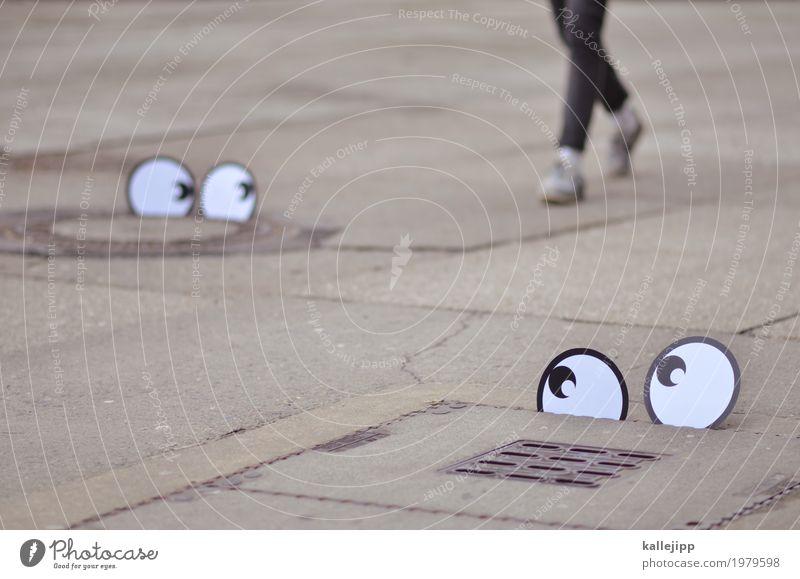 tracking Mensch Auge Beine Bewegung Fuß gehen Schuhe laufen beobachten Spaziergang Suche Hose Jeanshose Comic Turnschuh Studie