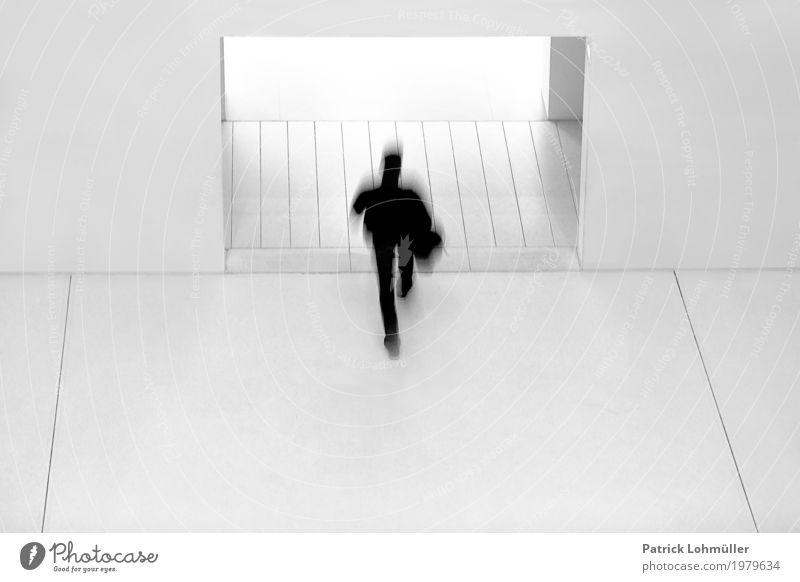 Schwarz auf Weiß Mensch maskulin Mann Erwachsene 1 18-30 Jahre Jugendliche Architektur Bibliothek Stuttgart Baden-Württemberg Deutschland Europa Gebäude Mauer