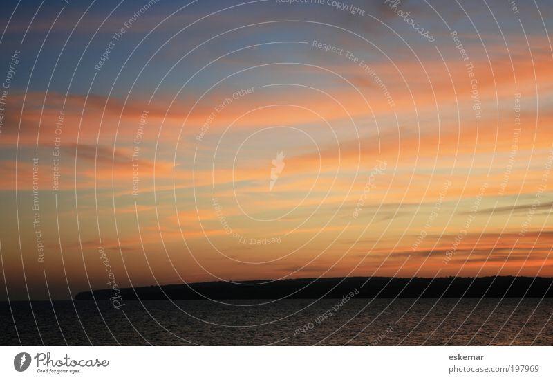 Formentera sunset Natur Landschaft Himmel Wolken Horizont Sonnenaufgang Sonnenuntergang Bucht Meer Mittelmeer Insel Balearen Gefühle Stimmung Glück