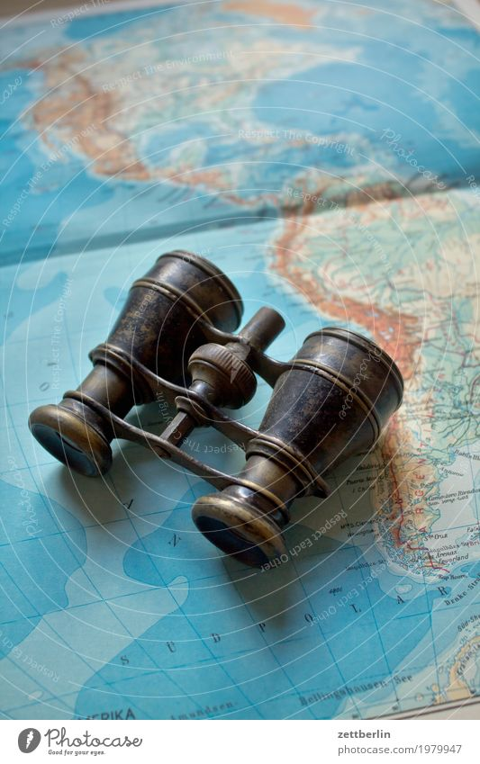Urlaubsplan beobachten Expedition Fernglas Globalisierung Globus Landkarte Kontinente Erwachsenenbildung Landschaft Opernglas Ferien & Urlaub & Reisen