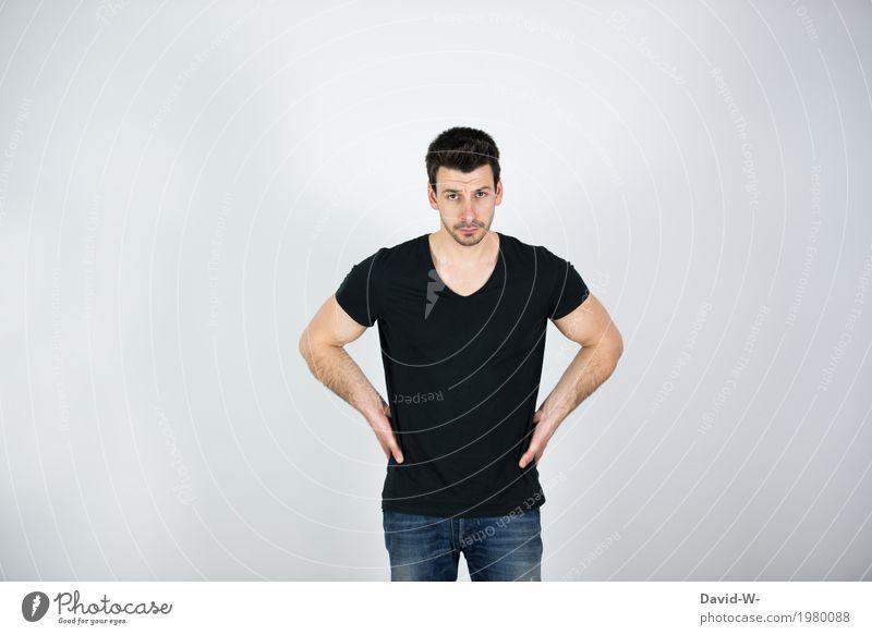 male Lifestyle Reichtum Stil Design sparen Gesundheit Leben ruhig Mensch maskulin Junger Mann Jugendliche Erwachsene Körper 1 Mode T-Shirt beobachten skeptisch