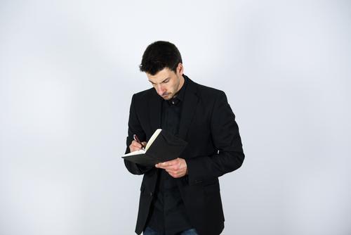Notizen Mensch Mann Erwachsene Leben Lifestyle Stil Business maskulin elegant Ordnung Erfolg lernen kaufen Studium Geld schreiben