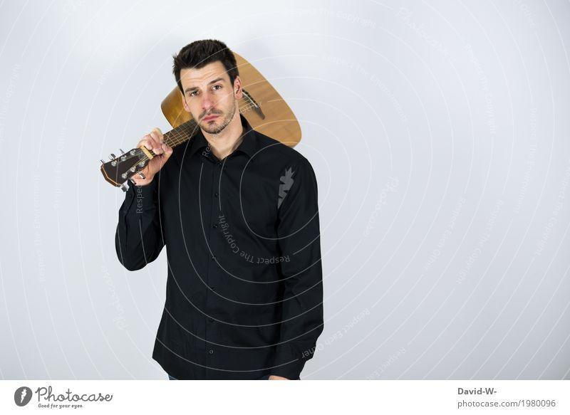 Mann mir Gitarre II Mensch Jugendliche Junger Mann 18-30 Jahre Erwachsene Leben Lifestyle Spielen Party Feste & Feiern Freizeit & Hobby maskulin Musik