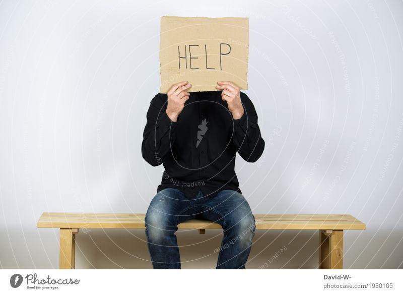 Hilfe Mensch Jugendliche Mann Junger Mann Erwachsene Leben Lifestyle Gefühle Gesundheit Business Denken maskulin Schilder & Markierungen Armut Hoffnung Bildung