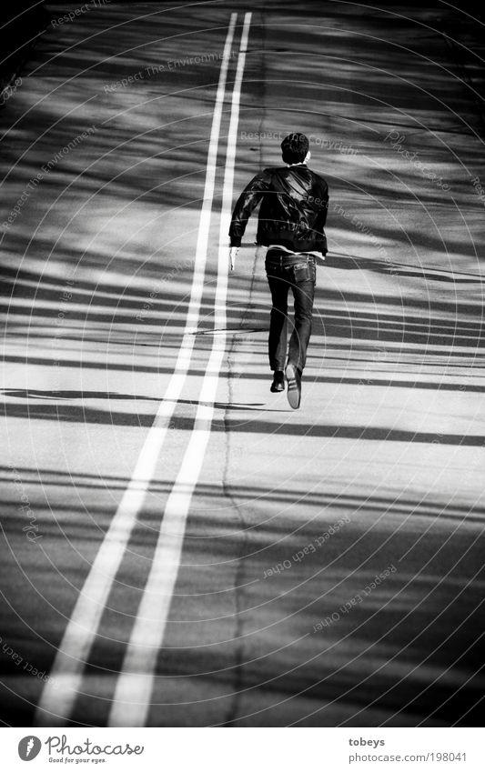 Benallal Jugendliche Einsamkeit Straße Junger Mann Wege & Pfade Freiheit laufen elegant Geschwindigkeit Suche Unendlichkeit lang aufwärts Eile Fernweh