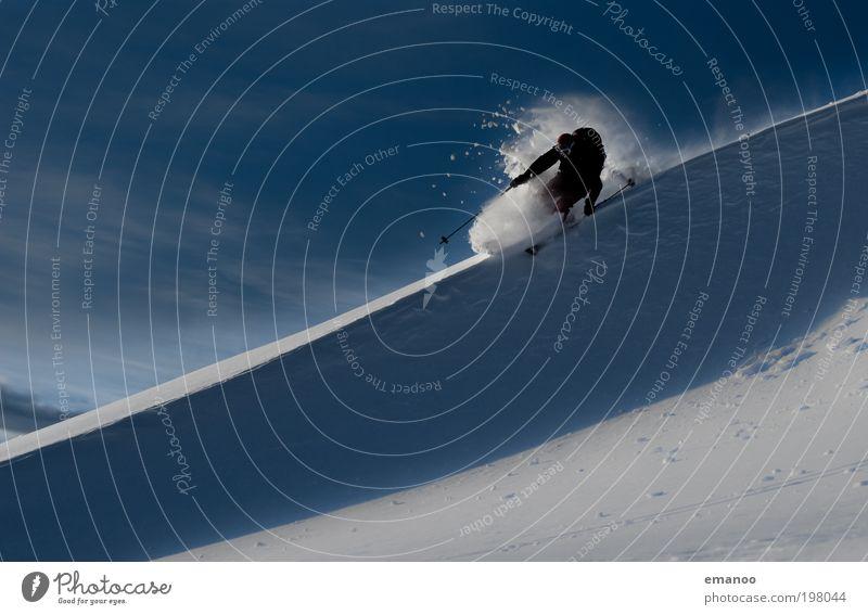 powderguide Mensch Freude Ferien & Urlaub & Reisen Winter Schnee Freiheit Berge u. Gebirge Freizeit & Hobby maskulin Skifahren Alpen Schweiz Skier Gipfel Kontrolle Schneelandschaft