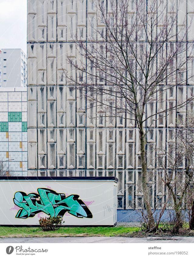 frühling in haneu Baum Stadt Haus Frühling Graffiti Hochhaus Fassade trist Ghetto Stadtrand Kunst überbevölkert