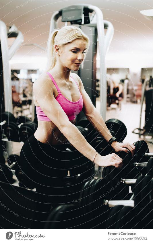 Fitness_45_1980692 Mensch Frau Jugendliche Junge Frau 18-30 Jahre Erwachsene Lifestyle Gesundheit Bewegung Sport feminin rosa blond sportlich Sport-Training
