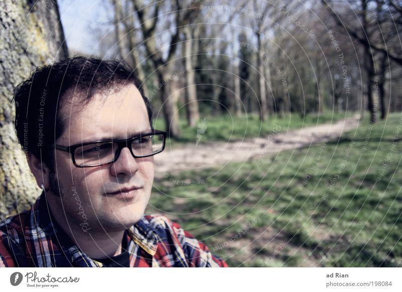träumer! Glück Freiheit Sonnenbad Mensch maskulin Junger Mann Jugendliche Leben 1 18-30 Jahre Erwachsene 30-45 Jahre Natur Sonnenlicht Grünpflanze Park Feld
