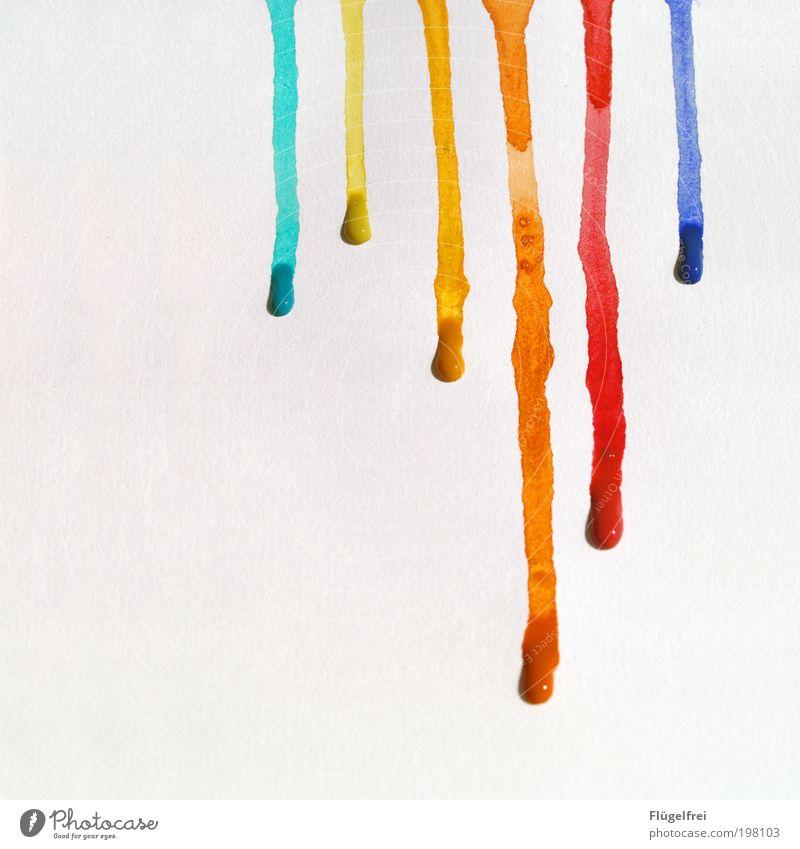 Lauf, Farbe lauf! schön Freude Bewegung Farbstoff Linie Kunst Papier ästhetisch mehrfarbig Tropfen Freizeit & Hobby Dynamik Fleck fließen gestreift Kultur