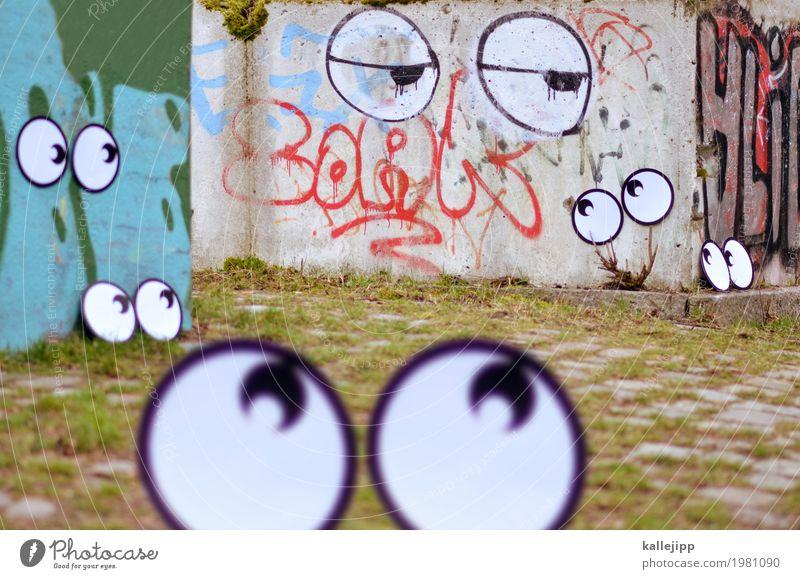 hey you? Auge Mauer Wand Blick Comic Graffiti Straßenkunst Fragen Müdigkeit Blick in die Kamera Unschärfe Überwachung tracking beobachten spionieren Traurigkeit