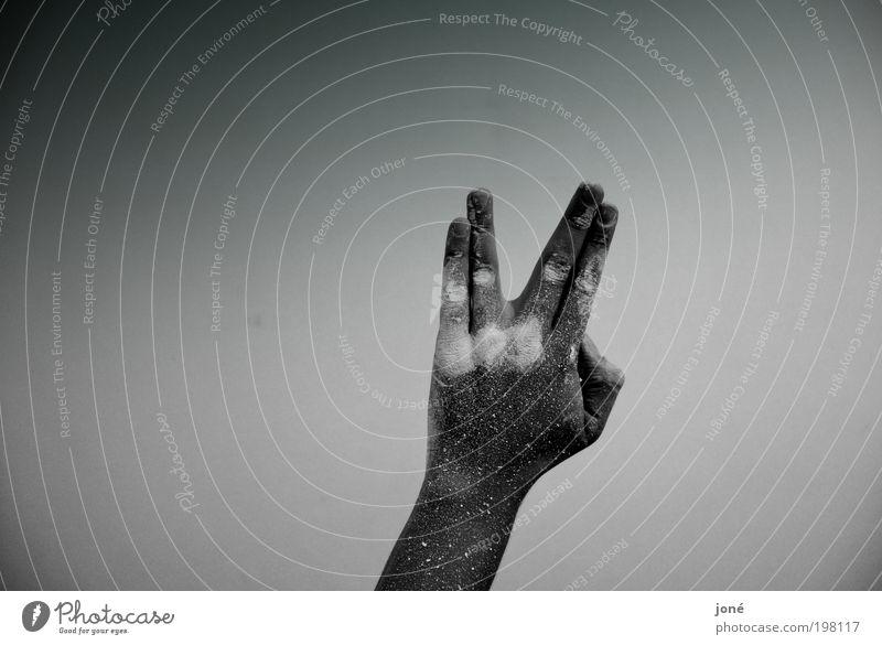 star trek. maskulin Hand 1 Mensch Kino Zeichen machen ästhetisch einfach gestikulieren streichen Farbstoff Schwarzweißfoto Innenaufnahme Experiment