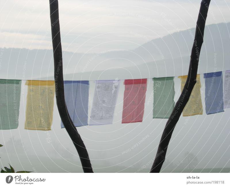 Tibetische Fahnen Natur Nebel ruhig Glaube demütig Buddhismus Farbfoto Außenaufnahme Morgendämmerung Zentralperspektive