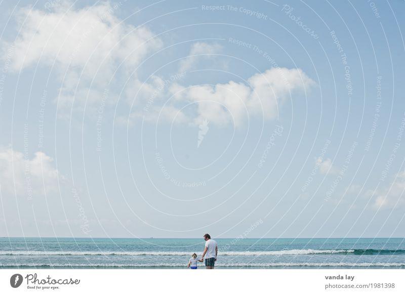 Tag am Meer Mensch Kind Himmel Ferien & Urlaub & Reisen Jugendliche Mann Sommer Sonne Junger Mann Wolken Mädchen Strand Erwachsene Leben