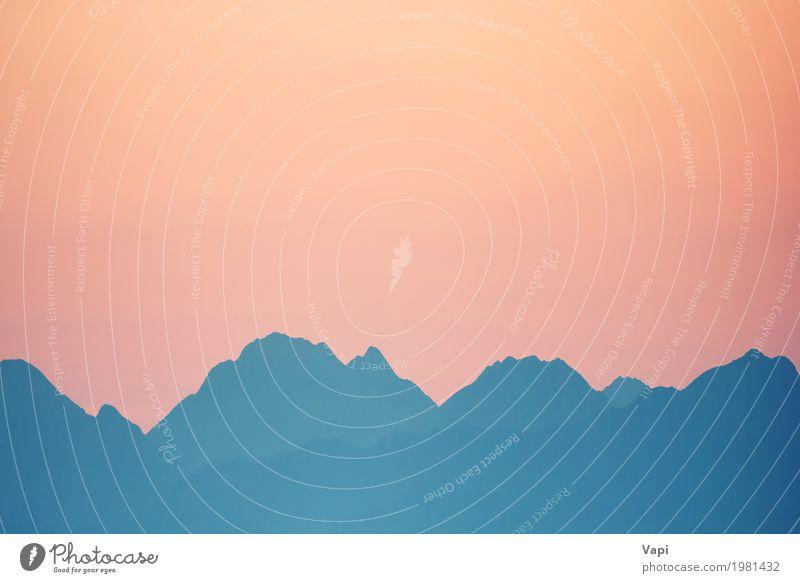 Schöner orange Sonnenuntergang über Bergen Himmel Natur Ferien & Urlaub & Reisen Himmel (Jenseits) blau Sommer Farbe Landschaft rot Berge u. Gebirge Umwelt gelb