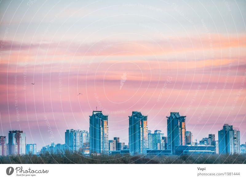 Sonnenuntergang Stadtansicht mit Brücke Himmel Ferien & Urlaub & Reisen blau weiß Landschaft rot Haus Architektur gelb Gebäude Business Tourismus orange Fassade
