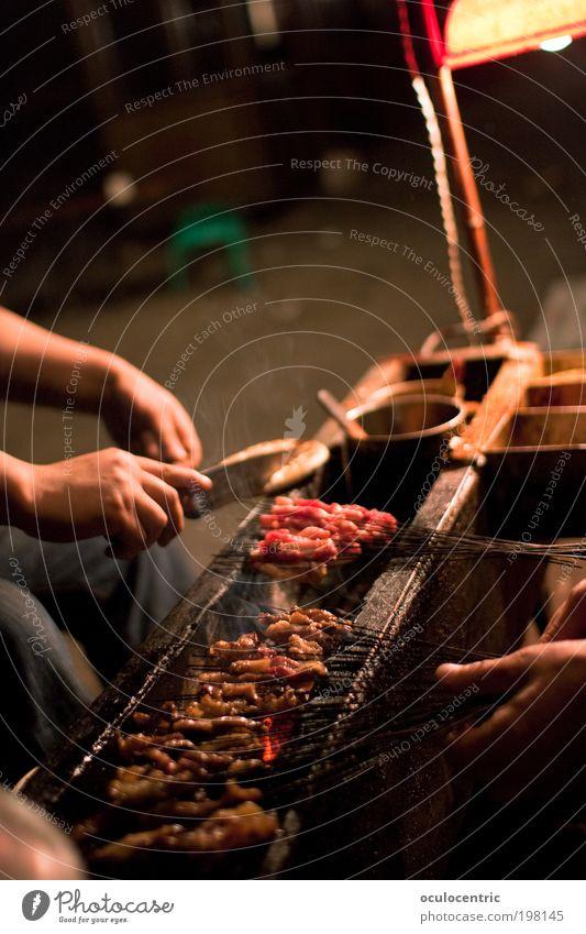 Kao Rou Hand rot Ernährung Straße Lampe Arbeit & Erwerbstätigkeit Wärme Metall Asien Kräuter & Gewürze China Grillen drehen Fleisch gemütlich Speise