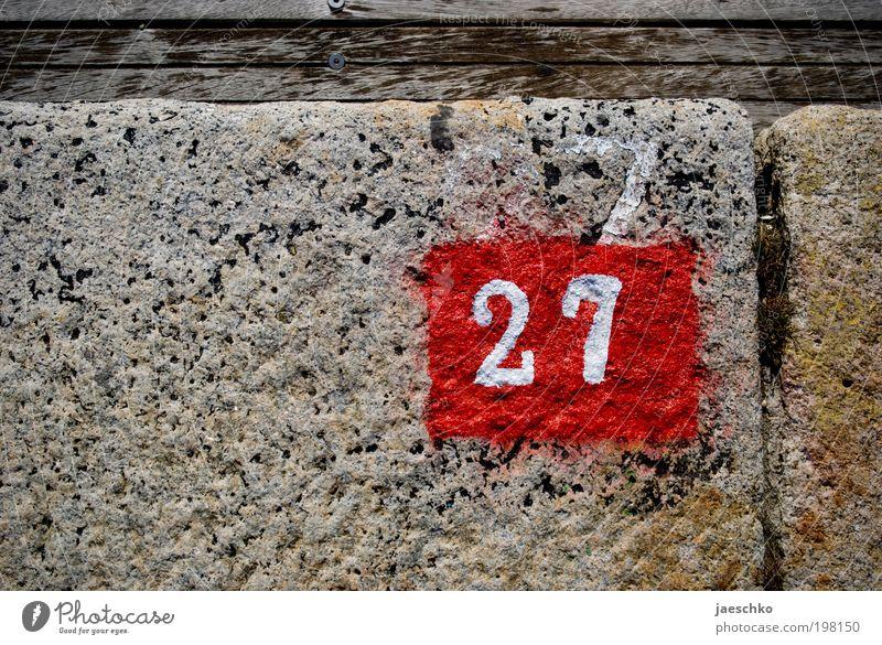 54:2 Stein Holz Ziffern & Zahlen Schilder & Markierungen alt authentisch neu rot 27 Hausnummer Stellplatz Parkplatznummer Jahrestag Jahreszahl Farben und Lacke