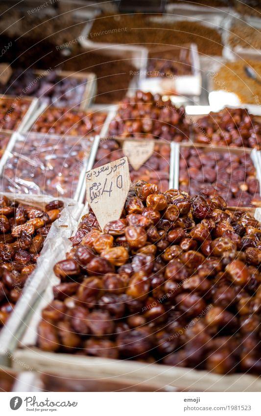 Datteln Markt Marktstand Ernährung Bioprodukte Vegetarische Ernährung Slowfood Fingerfood lecker süß braun Farbfoto Außenaufnahme Nahaufnahme Menschenleer Tag
