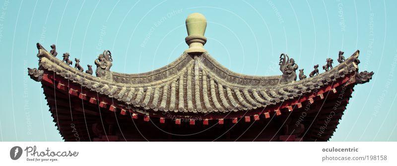 des Kaisers Dächer Himmel blau schön Haus Architektur Holz Stil braun ästhetisch Dach Asien China edel Optimismus Tempel