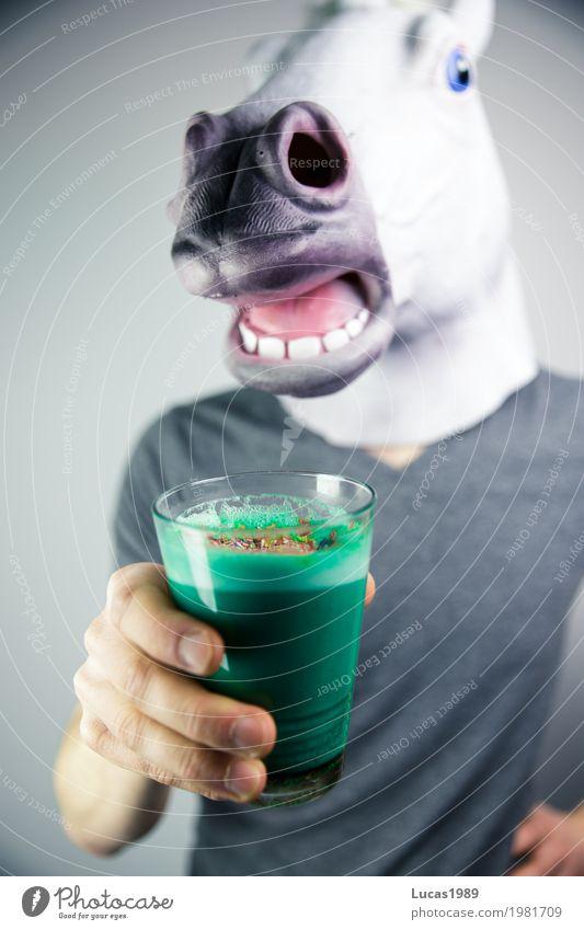 Unicorn Latte 1 Mensch blau grün Tier Freude Leben Stil Lebensmittel maskulin Glas Coolness Getränk Kaffee trinken Wellness Pferd