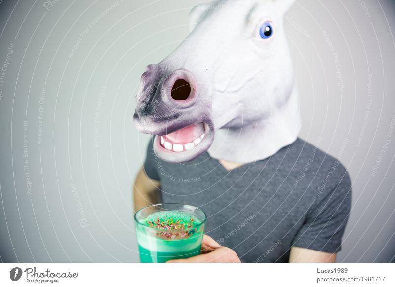 Unicorn Latte (vegan) Mensch blau Gesunde Ernährung grün Tier Leben außergewöhnlich maskulin modern Wildtier Glas verrückt Coolness Getränk Wellness trinken