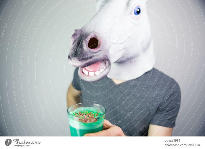 Einhorn Latte 1 Vegetarische Ernährung Vegane Ernährung Getränk trinken Heißgetränk Kaffee Latte Macchiato Unicorn Latte Tier Pferd unicorn Glas Streusel