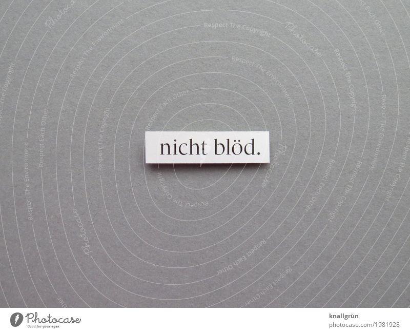 nicht blöd. Schriftzeichen Schilder & Markierungen Kommunizieren eckig grau schwarz weiß Gefühle Bildung dumm klug Farbfoto Studioaufnahme Menschenleer