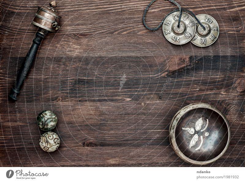Asiatische religiöse Gegenstände für Meditation und Alternativmedizin Schalen & Schüsseln Lifestyle Wellness Erholung Spa Musik Yoga Kultur Holz Metall alt oben