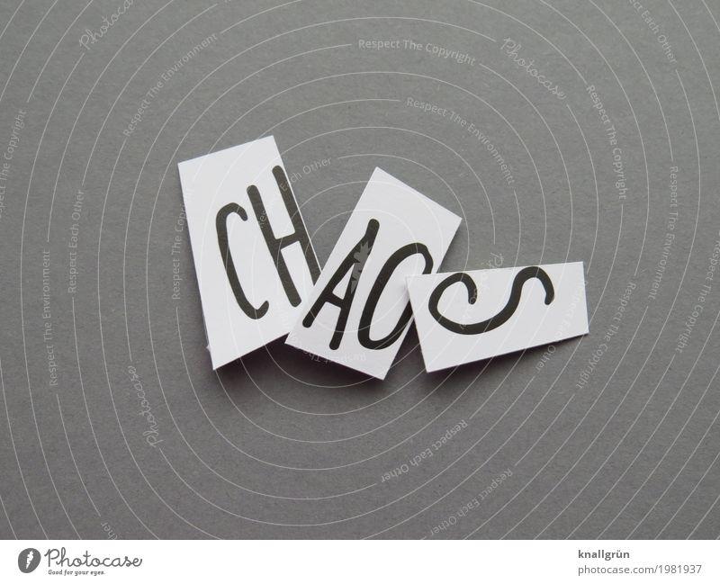 CH AO S Schriftzeichen Schilder & Markierungen Kommunizieren eckig grau schwarz weiß Gefühle Stimmung Stress chaotisch durcheinander unordentlich Farbfoto