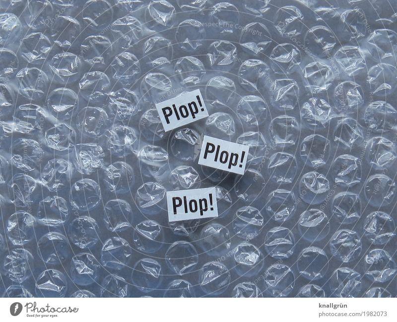 Plop! Plop! Plop! Luftpolsterfolie Schriftzeichen Schilder & Markierungen Kommunizieren klein rund schwarz weiß durchsichtig Geräusch plopp Schwarzweißfoto
