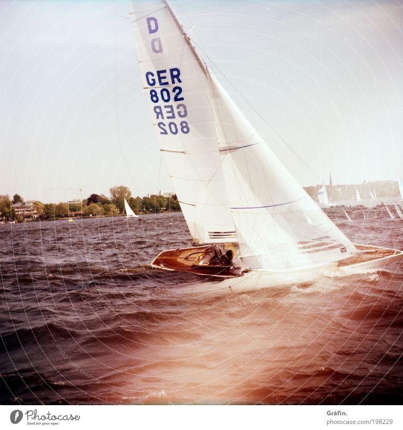 Krängung Segeln Wellen Wassersport Regatta Sommer See Hamburg Alster Segelboot Segelschiff An Bord fahren schaukeln Sport Zusammensein nass sportlich Mut